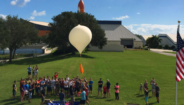 Helium balloon liftoff