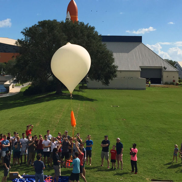 Helium balloon liftoff