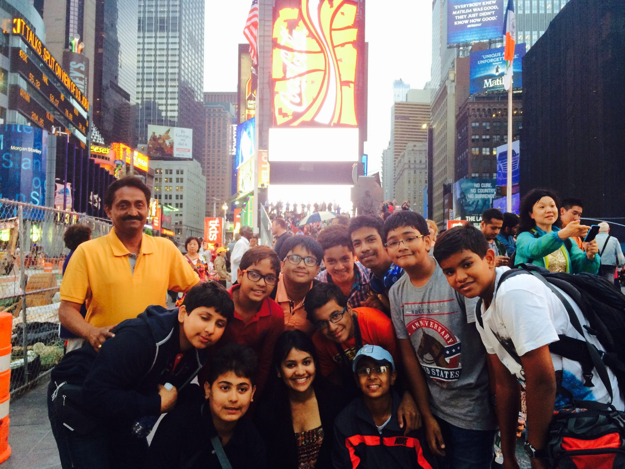 Students at Times Square